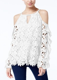 Inc International Concepts Petite Lace Ruffled Cold-Shoulder Top, Created for Macy's