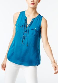 INC International Concepts I.n.c. Petite Lace-Up Blouse, Created for Macy's