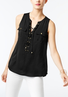 I.n.c. Petite Lace-Up Blouse, Created for Macy's