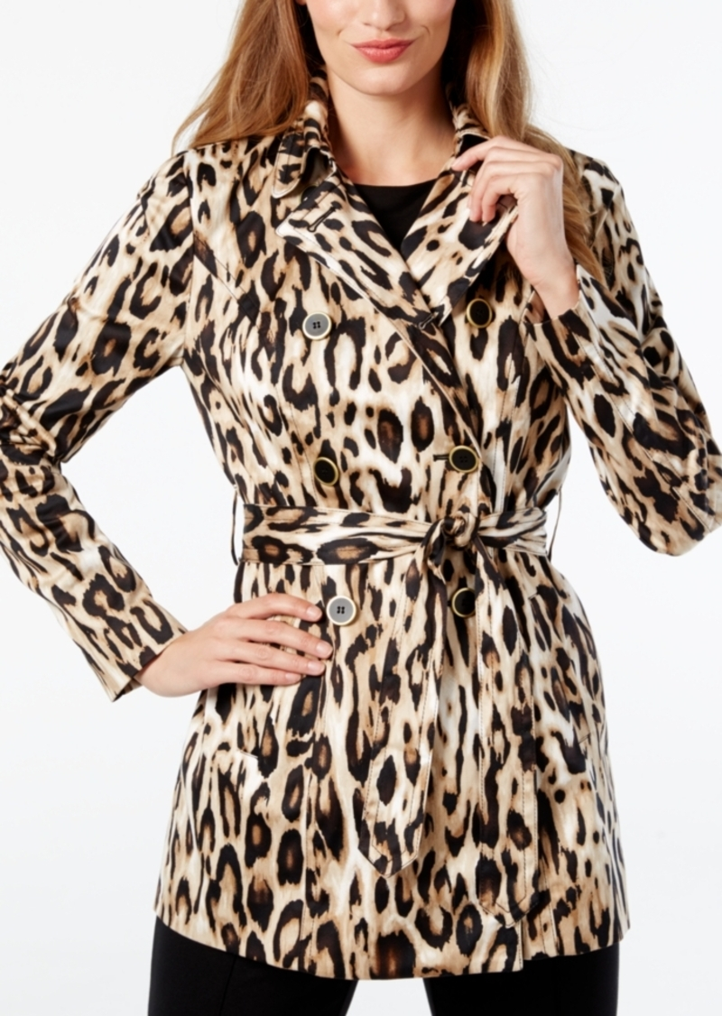 Inc International Concepts Petite Leopard-Print Trench Coat, Created for Macy's