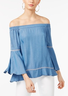I.n.c. Petite Off-The-Shoulder Denim Top, Created for Macy's