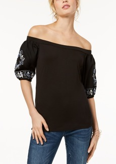 I.n.c. Petite Off-The-Shoulder Embroidered-Sleeve Top, Created for Macy's