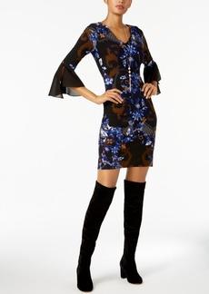 I.n.c. Petite Printed Bell-Sleeve Sheath Dress, Created for Macy's