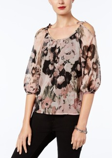 Inc International Concepts Petite Printed Cold-Shoulder Peasant Top, Created for Macy's