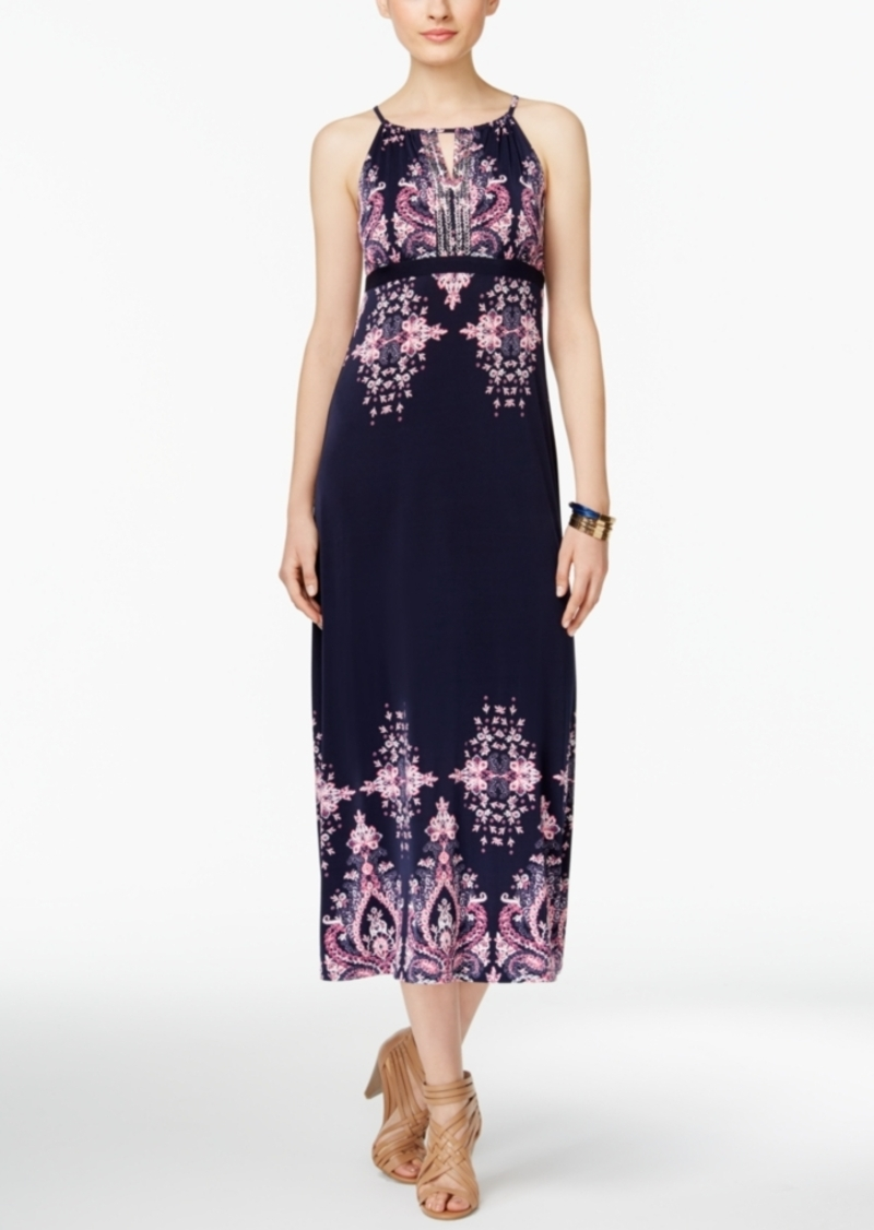 Inc International Concepts Petite Printed Empire-Waist Maxi Dress, Only at Macy's