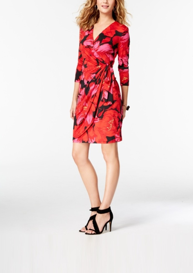 68a98c1cfdc5a Inc International Concepts Petite Printed Faux-Wrap Dress, Created for  Macy's