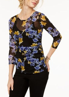 I.n.c. Printed 3/4-Sleeve Illusion Mesh Top, Created for Macy's