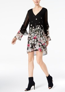 Inc International Concepts Petite Printed Ruffled-Sleeve Dress, Created for Macy's