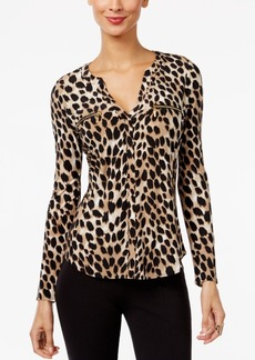 Inc International Concepts Petite Printed Zip-Pocket Top, Created for Macy's