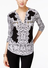 Inc International Concepts Printed Zip-Pocket Top, Created for Macy's