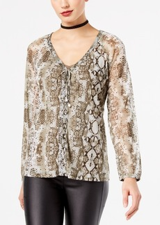 Inc International Concepts Petite Python-Print Lace-Up Blouse, Created for Macy's