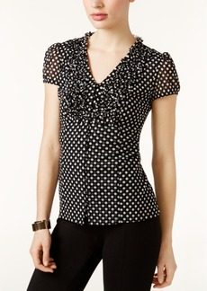 I.n.c. Petite Ruffled Dot-Print Top, Created for Macy's