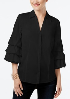 Inc International Concepts Petite Ruffled Poplin Shirt, Created for Macy's
