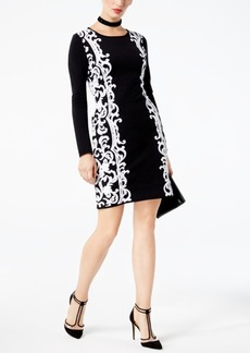 Inc International Concepts Petite Scroll-Jacquard Sweater Dress, Created for Macy's