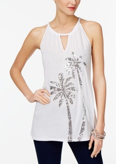 Inc International Concepts Petite Sequined Halter Top, Created for Macy's