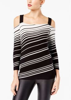 I.n.c. Petite Striped Off-The-Shoulder Top, Created for Macy's