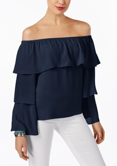 Inc International Concepts Petite Tiered Off-The-Shoulder Top, Created for Macy's