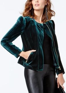 Inc International Concepts Petite Velvet Moto Jacket, Created for Macy's