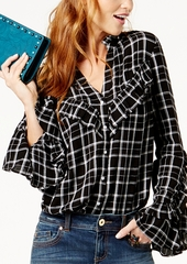 Inc International Concepts Petite Plaid Ruffled Shirt, Created for Macy's
