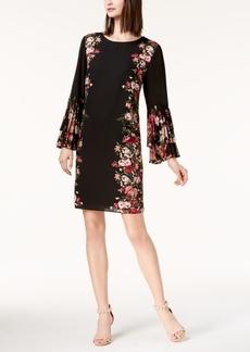 I.n.c. Petite Printed Pleated-Sleeve Dress, Created for Macy's