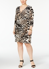I.n.c. Plus Size Animal-Print Wrap Dress, Created for Macy\'s