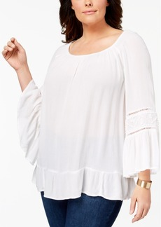 Inc International Concepts Plus Size Bell-Sleeve Blouse, Created for Macy's