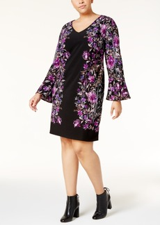 I.n.c. Plus Size Bell-Sleeve Ponte Shift Dress, Created for Macy's