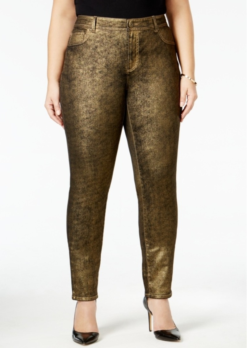 Inc International Concepts Plus Size Coated Metallic Skinny Jeans, Only at Macy's