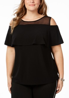 I.n.c. Plus Size Cold-Shoulder Illusion Top, Created for Macy's