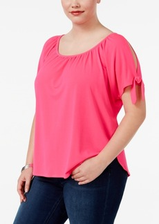 Inc International Concepts Plus Size Cold-Shoulder T-Shirt, Created for Macy's
