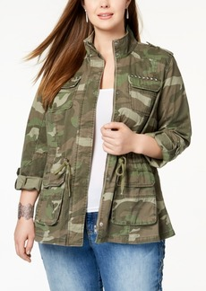 Inc International Concepts Plus Size Cotton Camouflage Jacket, Created for Macy's