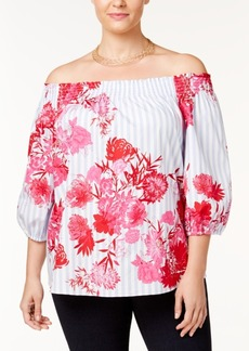 I.n.c. Plus Size Cotton Off-The-Shoulder Top, Created for Macy's
