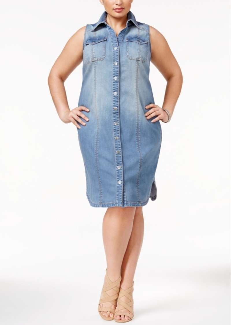 Inc International Concepts Plus Size Crochet-Back Denim Shirtdress, Only at Macy's