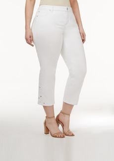 Inc International Concepts Plus Size Crocheted White Wash Cropped Jeans, Only at Macy's