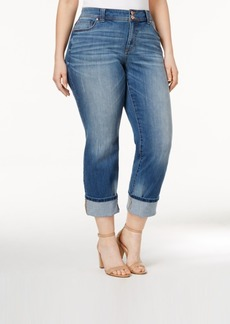 Inc International Concepts Plus Size Cropped Sunlight Wash Straight-Leg Jeans, Only at Macy's