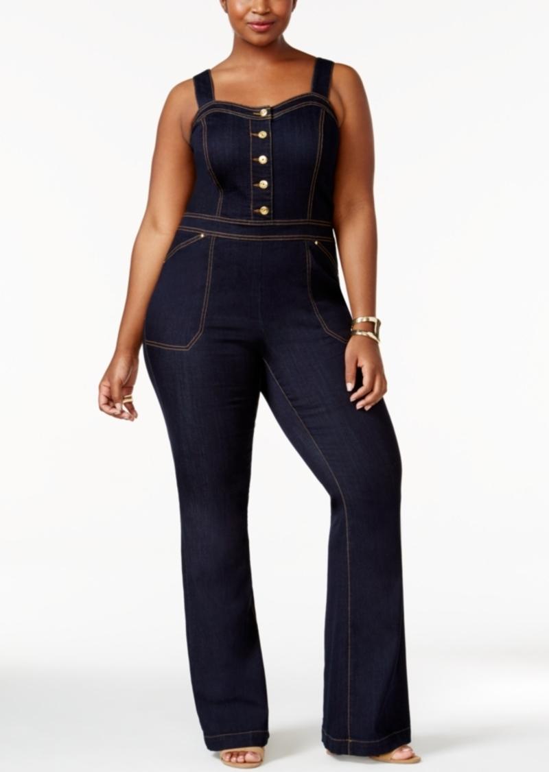 hot-seeling original 2019 discount sale clearance Plus Size Denim Jumpsuit, Only at Macy's