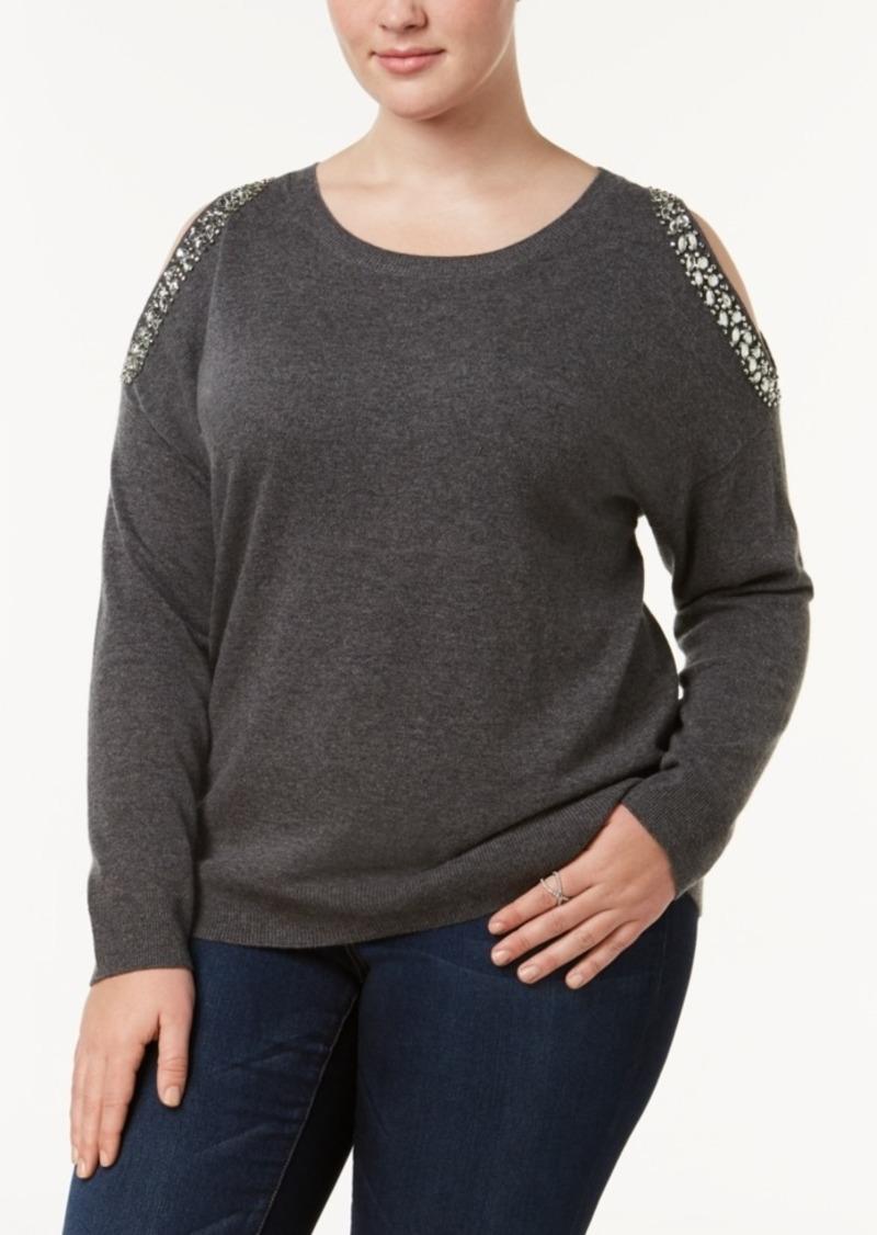 752c4aa02a5 INC International Concepts I.n.c. Plus Size Embellished Cold-Shoulder  Sweater