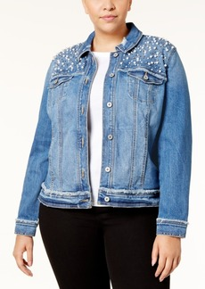 Inc International Concepts Plus Size Embellished Denim Jacket, Created for Macy's