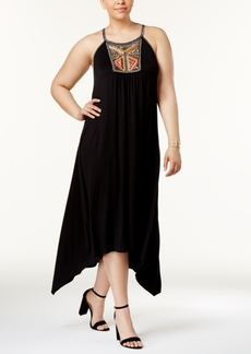 Inc International Concepts Plus Size Embroidered Handkerchief-Hem Dress, Only at Macy's