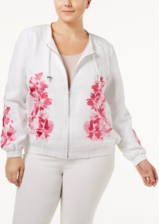 Inc International Concepts Plus Size Embroidered Jacket, Created for Macy's