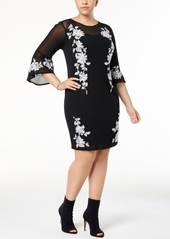 INC International Concepts I.n.c. Plus Size Embroidered Mesh Sheath Dress, Created for Macy's