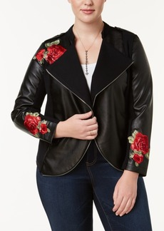 I.n.c. Plus Size Embroidered Mixed-Media Jacket, Created for Macy's