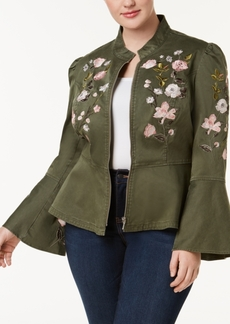 I.n.c. Plus Size Embroidered Peplum Military-Inspired Jacket, Created for Macy's