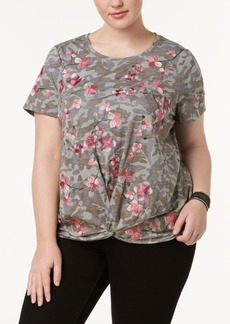 I.n.c. Plus Size Embroidered Printed Twist-Front Top, Created for Macy's