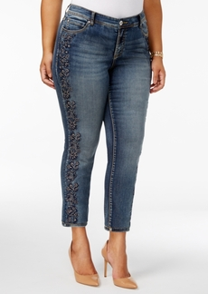 Inc International Concepts Plus Size Tummy Control Embroidered Skinny Jeans, Created for Macy's