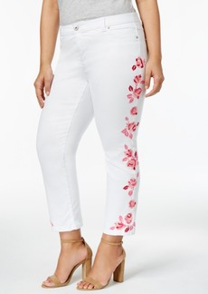 Inc International Concepts Plus Size Embroidered Skinny Jeans, Created for Macy's