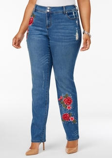 Inc International Concepts Plus Size Embroidered Studded Jeans, Created for Macy's
