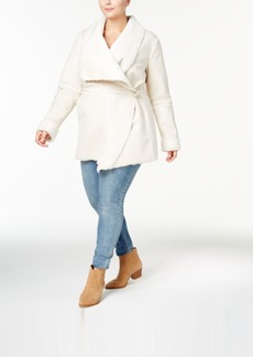 Inc International Concepts Plus Size Faux-Shearling Wrap Coat, Created for Macy's