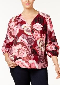 Inc International Concepts Plus Size Floral-Print Surplice Blouse, Created for Macy's
