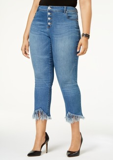 Inc International Concepts Plus Size Tummy Control Fringed Cropped Jeans, Indigo Wash, Created for Macy's